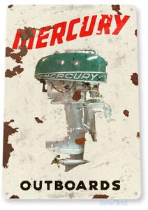 TIN SIGN Mercury Outboard Motors Retro Boat Motor Engine Metal Sign Decor C606