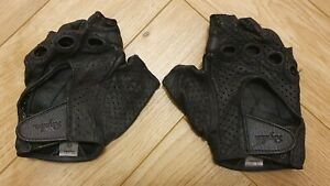 Mens Rapha GT Grand Tour Black Leather Cycling Mitts Gloves Small S