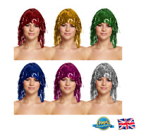 TINSEL WIG Ladies Fancy Dress Costume Party Hen Night Glitter Wig 6 Colours
