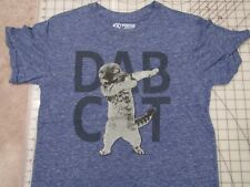 DAB CAT Dancing T-SHIRT Ladies Juniors LARGE Heather Blue Kitty Funny Novelty L