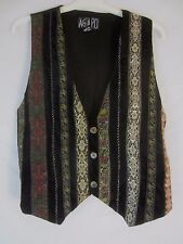 AGAPO Womens Small Velvet & Metallic Ribbon Embellished Button Front Vest CB24Y
