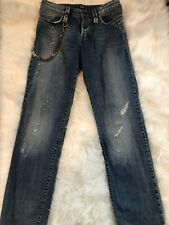 Dolce & Gabbana Distressed Men's Jeans w/metal keychain size 34 , leather patch