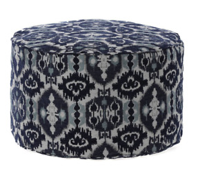 Round Ottoman - Gold Medal Bean Bags - Navy/White - New & BEAUTIFUL