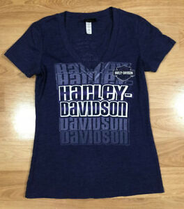 Womens HARLEY DAVIDSON Shirt Size Medium Purple V-neck Short Sleeve