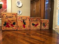 Vintage Rooster Canister Nesting Set Wooden Flour Sugar Coffee Tea Japan MCM