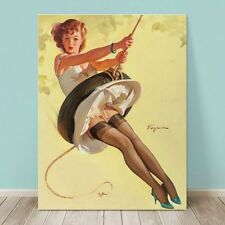 "VINTAGE Pin-up Girl CANVAS PRINT Gil Elvgren  36x24"" Swinging Sweetie"
