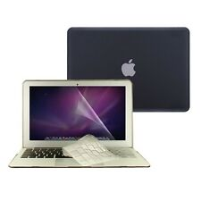 """3 in 1 Rubberized BLACK Case for Macbook AIR 13"""" A1369 + Key Cover + LCD Screen"""