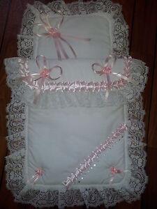Coachbuilt Silver Cross Dolls Pram Set White/Pink with Lace & SWAROVSKI Crystals