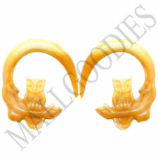 0685 Spiral Owl Taper Expander Stretcher Plugs Hoops 4G 5mm L Brown Beige Blonde