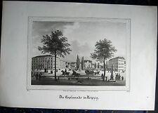 LEIPZIG, Esplanade. Wilhelm-Leuschner-Platz. Originale Lithographie von 1840