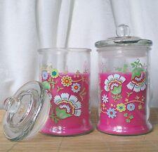 ❀ 2 x Große Kerze Deko Glas + Deckel Windlicht Blumen Pink 15 cm Blüten Rosa #78
