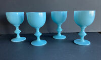 "Vintage 1930 French Portieux Vallerysthal Opaline Blue Glass 4.5"" Wine Glass"