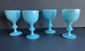 """Vintage 1930 French Portieux Vallerysthal Opaline Blue Glass 4.5"""" Wine Glass"""