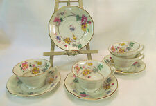 Royal Imperial Czechoslovakia 4 Cups & Saucers Multisided Gold Trim
