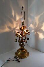 Vintage Italian Regency Gold Gilt Tole Metal Flower 4-Light Table Lamp Mcm