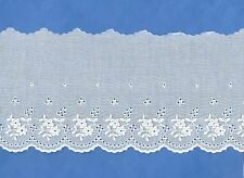 "SWISS Embroidered FLORAL Eyelet Trim BTY 3 1/2""w WHITE Heirloom/ Smocking NEW"