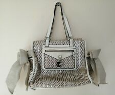 Juicy Couture white leather metallic shimmer natural summer bag VERY GOOD COND