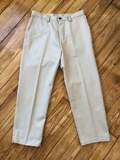 Haggar HC10305 Tan Standard Plain Front Chino Casual Pants Actual 35x29