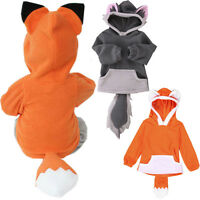 Toddler Kids Baby Boy Girl Warm Fleece Fox Hooded Jacket Outwear Coat Clothes UK