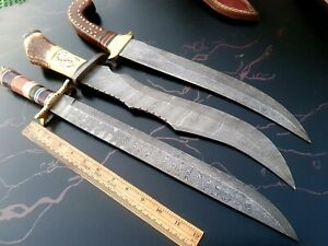 CUSTOM HAND MADE DAMASCUS STEEL ANTIQUE HUNTING  KNIVES  (LOT OF 3) RJ 06