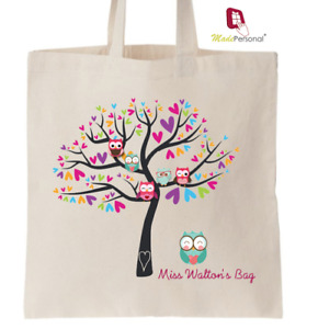 PERSONALISED Thank You Teacher School Gift Cotton Tote Bag- Owl Learning Tree