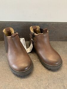 Next Little Boys Real Leather Fur Lined Chelsea Boots Brown Uk Size 7 Brand New