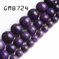 Natural Stone Charoite Beads Gem Smooth Purple Round Loose Bead 6mm 8mm 10mm