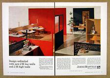 1962 Johns-Manville Asbestos-Cement Movable Walls vintage print Ad