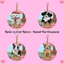 Rosie 25 Cent Kisses Dog Cat Round Flat Christmas Tree Ornament