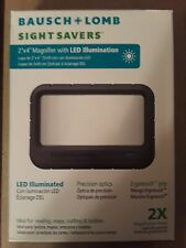 "Bausch & Lomb Rectangular Handheld LED illuminated 2 x 4"" Magnifier, Gray"