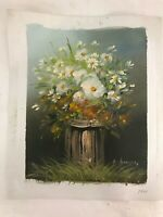 Mid Century Impressionist Original Art Oil Painting Wht Floral Signed Anderson**