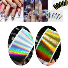 Holographic Gold Silver Strip Tape Nail Art Stickers Holo Stripe Line Foil Decal