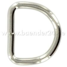 50mm D-Ringe geschweißt aus Stahl, vernickelt, 10 Stück