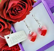 EARRINGS MADE WITH SWAROVSKI ELEMENTS HEART PADPARADSHA 14mm STERLING SILVER 925