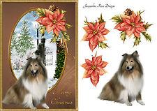 Collie & Stella di Natale Natale carta DECOUPAGE FOGLIO 1 x A4