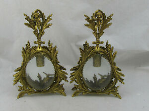 """Antique Gold Gilt Gild French Ormolu Perfume Bottle Lot of 2 Large 10"""" Tall"""