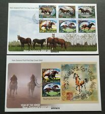 2002 New Zealand Zodiac Lunar Year of the Horse Stamps & MS FDC (pair)