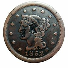 "Large cent/penny 1852 collector coin with neat ""J K"" counterstamp"