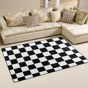 Non-slip Area Rugs Pad Cover Black White Checkered Pattern Floor Mat 2021