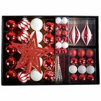 Red Christmas Tree Decorations Baubles & Star Set Red and White 68 pcs Xmas