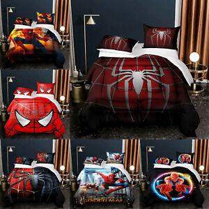 Spiderman Summer Comforter Set 3PCS Lightweight Soft Duvet Quilt Pillowcases NEW