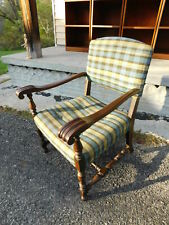 Antique Early 20c Jacobean Walnut Lounging Throne Knuckle Arm Decisions Chair