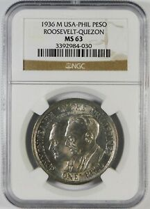 1936 US-Philippines Roosevelt-Quezon 1 Peso Silver Coin NGC MS63