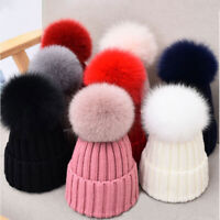 Real Fur Pom Pom Bobble Knitted Ski Hat Beanie Warm Winter Adult Women Kids 16cm