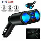 12v Car Cigarette Lighter Adapter Charger 2 Way Dual Plug Socket Splitter Une