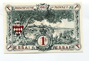 Monaco 1 Franc 1920 ESSAI - Specimen UNC