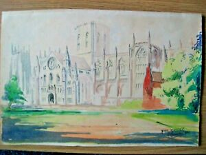OLD WATER COLOUR/PEN/PENCIL DRAWING OF YORK MINSTER FROM 1942