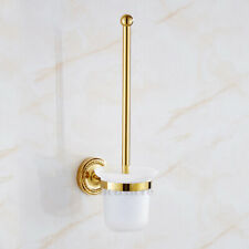 Gold Polished Bathroom Closet Cleaning Set Toilet Brush Hanger Holder with Cup