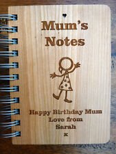 Personalised Mum's Notebook Journal : Custom Engraved wood (recipe book) Gift