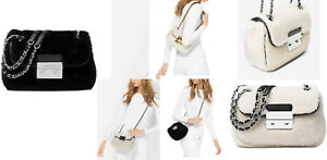 Michael Kors Women's Crossbody Bag Black Sloan Small Shearling Shoulder Bag